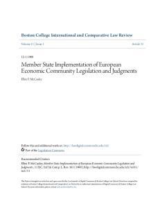 Member State Implementation of European Economic Community Legislation and Judgments