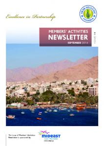 Members Activities. Newsletter. issue 16. This issue of Members Activities Newsletter is sponsored by: