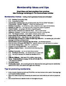 Membership ideas and tips