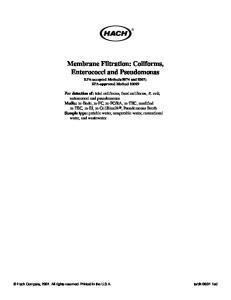 Membrane Filtration: Coliforms, Enterococci and Pseudomonas