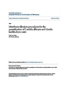 Membrane filtration procedures for the quantification of Candida albicans and Giardia lamblia from water