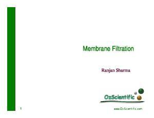 Membrane Filtration. Ranjan Sharma