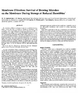 Membrane Filtration: Survival of Brewing Microbes. on the Membrane During Storage at Reduced Humidities 1