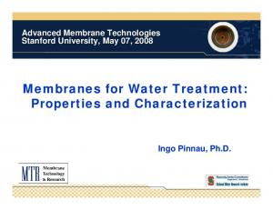 Membranes for Water Treatment: Properties and Characterization