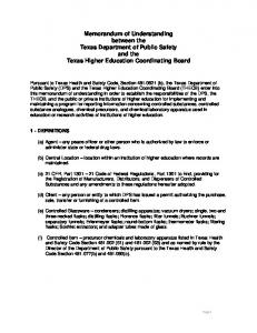 Memorandum of Understanding between the Texas Department of Public Safety and the Texas Higher Education Coordinating Board