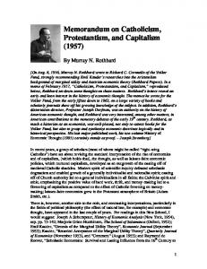 Memorandum on Catholicism, Protestantism, and Capitalism (1957)
