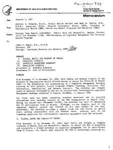 Memorandum. Public Health Service Centers for Disease Control DEPARTMENT OF HEALTH & HUMAN SERVICES. January 5, Date