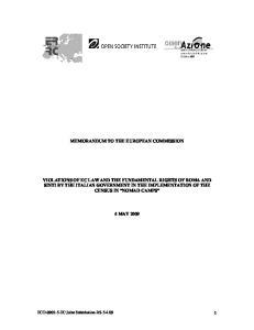 MEMORANDUM TO THE EUROPEAN COMMISSION