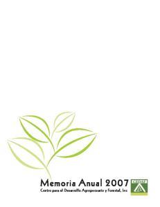 Memoria Anual Centro para el Desarrollo Agropecuario y Forestal, Inc