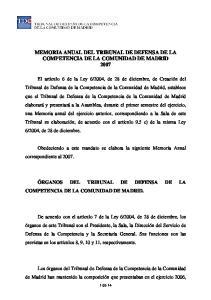 MEMORIA ANUAL DEL TRIBUNAL DE DEFENSA DE LA COMPETENCIA DE LA COMUNIDAD DE MADRID