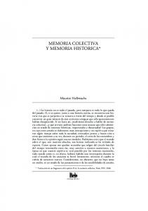 MEMORIA COLECTIVA Y MEMORIA HISTORICA*