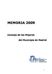 MEMORIA Consejo de las Mujeres. del Municipio de Madrid