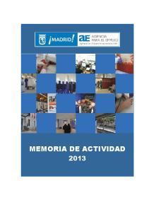 MEMORIA DE ACTIVIDAD 2013