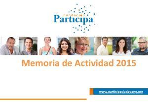 Memoria de Actividad 2015
