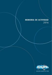 MEMORIA DE ACTIVIDAD MEMORIA DE ACTIVIDAD AUSAPE