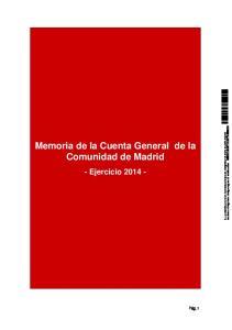 Memoria de la Cuenta General de la Comunidad de Madrid