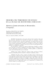MEMORIA DEL TERRORISMO DE ESTADO EN LA CIUDAD DE MONTEVIDEO (URUGUAY) Memory of state terrorism in Montevideo (Uruguay)