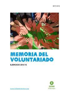 MEMORIA DEL VOLUNTARIADO