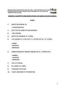 MEMORIA DESCRIPTIVA INSERCION URBANA ESTACION ESTADIO NACIONAL INDICE 5. EVALUACION DE LA VIALIDAD Y EL ESTADO ACTUAL DE LA ZONA