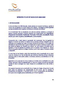 MEMORIA PLAN DE IGUALDAD