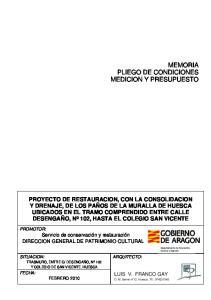 MEMORIA PLIEGO DE CONDICIONES MEDICION Y PRESUPUESTO