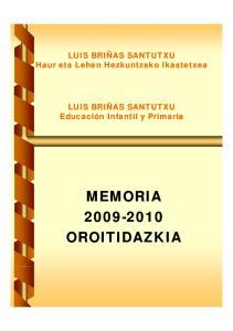 MEMORIA PRIMER CICLO CURSO