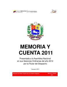 MEMORIA Y CUENTA 2011