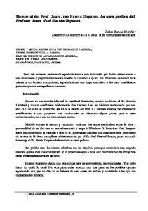 Memorial del Prof. Juan José Barcia Goyanes. La obra poética del Profesor Juan José Barcia Goyanes