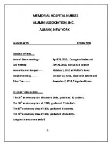 MEMORIAL HOSPITAL NURSES ALUMNI ASSOCIATION, INC. ALBANY, NEW YORK