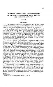 MEMORIAL SUBMITTED BY THE GOVERNMENT OF THE UNITED KINGDOM OF GREAT BRITAIN AND NORTHERN IRELAND1 PART I. Introductory