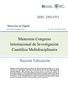 Memorias Congreso Internacional de Investigación Científica Multidisciplinaria