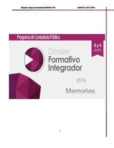 Memorias Congreso Internacional DOSSIER 2016 ISBN