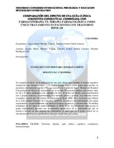 MEMORIAS I CONGRESO INTERNACIONAL PSICOLOGIA Y EDUCACION PSYCHOLOGY INVESTIGATION
