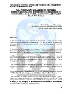 MEMORIAS III CONGRESO INTERNACIONAL PSICOLOGIA Y EDUCACION PSYCHOLOGY INVESTIGATION
