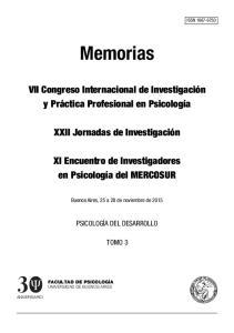 Memorias. VII Congreso Internacional de Investigación y Práctica Profesional en Psicología. XXII Jornadas de Investigación