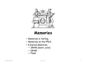 Memories. Memories in Verilog Memories on the FPGA External Memories -- SRAM (async, sync) -- DRAM -- Flash Fall 2008 Lecture 7