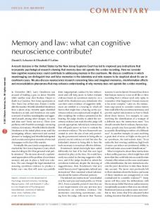 Memory and law: what can cognitive neuroscience contribute?