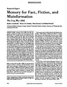 Memory for Fact, Fiction, and Misinformation The Iraq War 2003