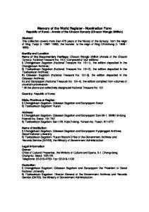 Memory of the World Register - Nomination Form Republic of Korea - Annals of the Choson Dynasty (Choson Wangjo Shillok)