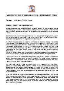 MEMORY OF THE WORLD REGISTER NOMINATION FORM