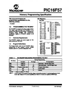 Memory Programming Specification