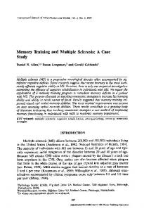 Memory Training and Multiple Sclerosis: A Case Study