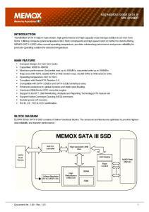 MEMOX SATA III SSD SSD MEMOX 120GB SATA III MX-S103BR INTRODUCTION MAIN FEATURE BLOCK DIAGRAM