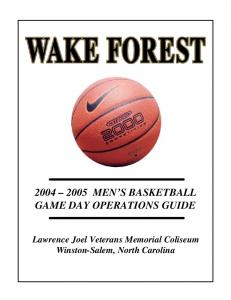 MEN S BASKETBALL GAME DAY OPERATIONS GUIDE