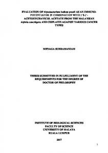 MENAGA SUBRAMANIAM THESIS SUBMITTED IN FULFILLMENT OF THE REQUIREMENTS FOR THE DEGREE OF DOCTOR OF PHILOSOPHY
