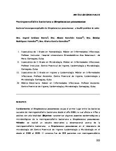 Meningoencefalitis bacteriana a Streptococcus pneumoniae