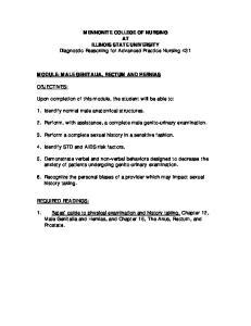 MENNONITE COLLEGE OF NURSING AT ILLINOIS STATE UNIVERSITY Diagnostic Reasoning for Advanced Practice Nursing 431