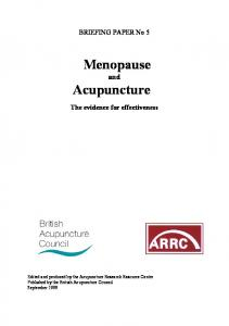 Menopause and Acupuncture The evidence for effectiveness