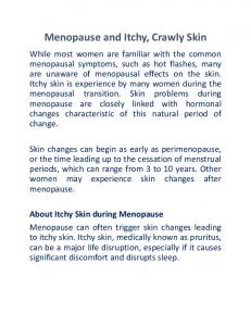 Menopause and Itchy, Crawly Skin