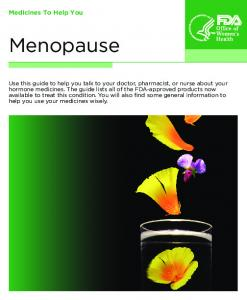 Menopause. Medicines To Help You